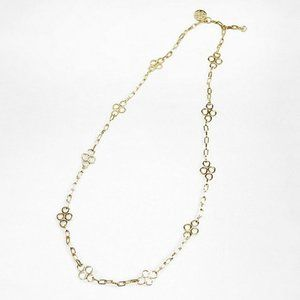 """Tory Burch Long Clover Necklace Gold Tone 42"""""""